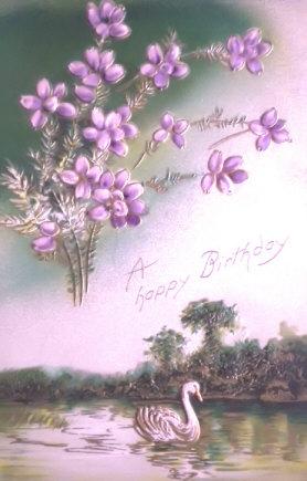 Beautiful Swan Vintage Birthday Greetings